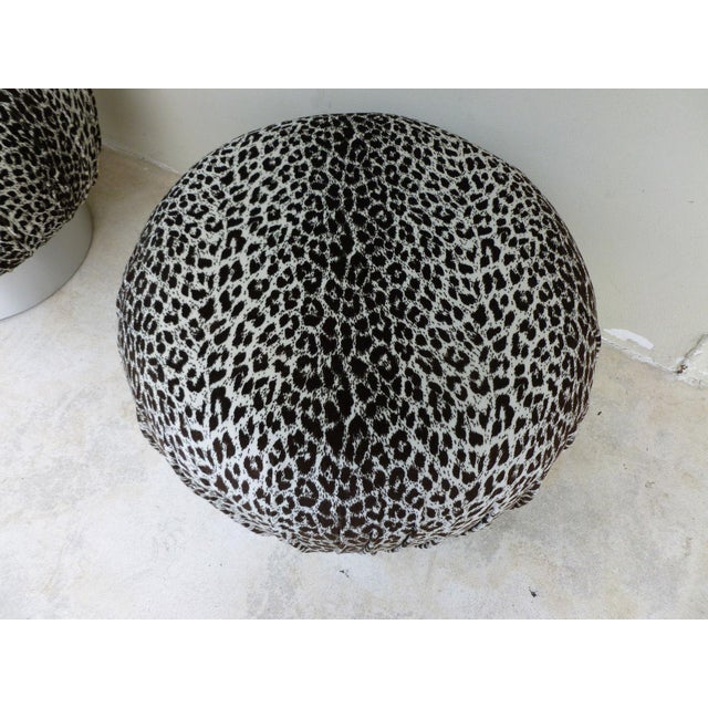 Karl Springer 1970's Karl Springer Style Leopard Fabric Souffle Poufs- A Pair For Sale - Image 4 of 7