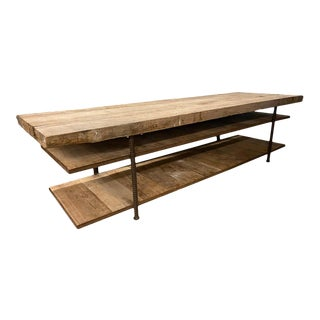 Enormous Oak and Steel Work, Console, or Display Table, Burgundy, France For Sale