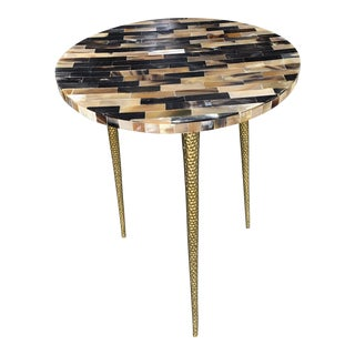 Contemporary Cowhorn Top Texture Side Table For Sale