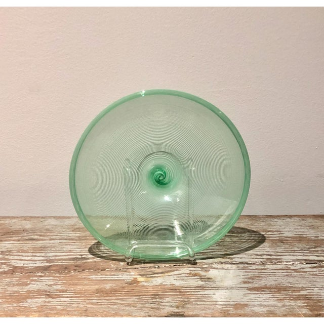 1920s Pale Green Murano Plate, Italy Circa 1920 For Sale - Image 5 of 5