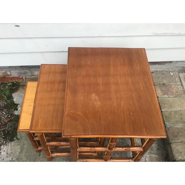 Mid-Century Modern 1960s Mid-Century Modern Rattan Nesting Tables - Set of 3 For Sale - Image 3 of 13