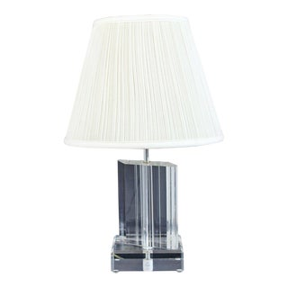 Mid Century Modern Angled Lucite Table Lamp Springer Era 1970s Orig Finial For Sale
