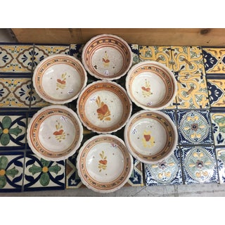 Vintage Mexican Ceramic Pozole Bowls Hand Painted Orange Flower and Heart Design - Set of 7 Preview