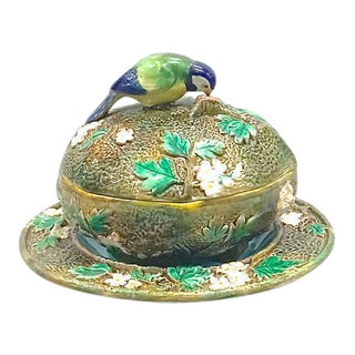 Antique George Jones Majolica Muffin Dish For Sale