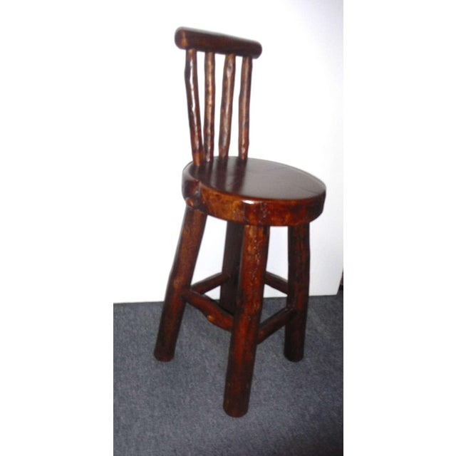 Brown Pair of Rustic Log /Hickory Bar Stools w/ Pllank Seats For Sale - Image 8 of 10