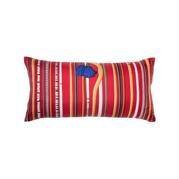 "Contemporary ""Les Cannes"" Hermès Silk Scarf Pillow For Sale - Image 3 of 3"