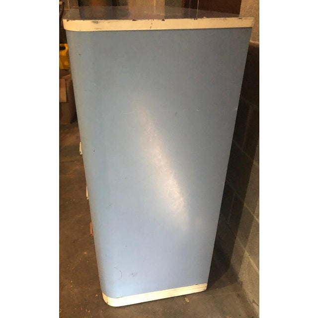 Metal Dresser Highboy by Norman Bel Geddes for Simmons Circa 1930s Baby Blue and White For Sale - Image 7 of 13