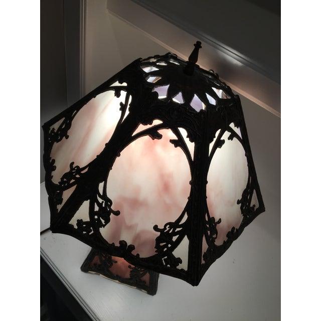 Art Nouveau Deco Slag Glass Lamp - Image 7 of 10