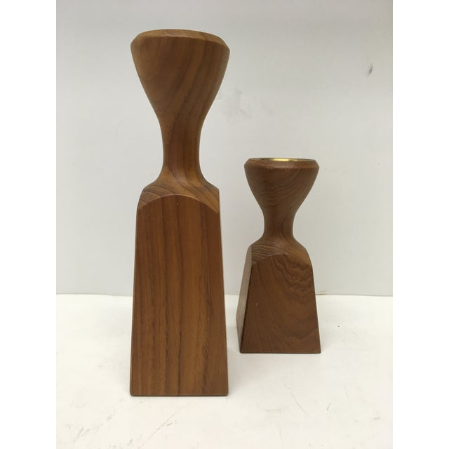 Teak Candle Holders by Dansk - a Pair For Sale In San Francisco - Image 6 of 6