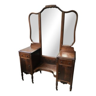 Vintage Ornate Trifold Vanity With Storage For Sale