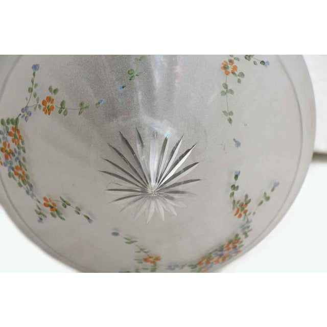 Floral Glass Shade With Brass Fixture & Star Detail For Sale - Image 6 of 11