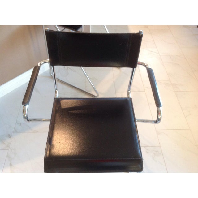 Animal Skin Mid-Century Chrome and Black Leather Counter Z Bar Stools - a Pair For Sale - Image 7 of 8