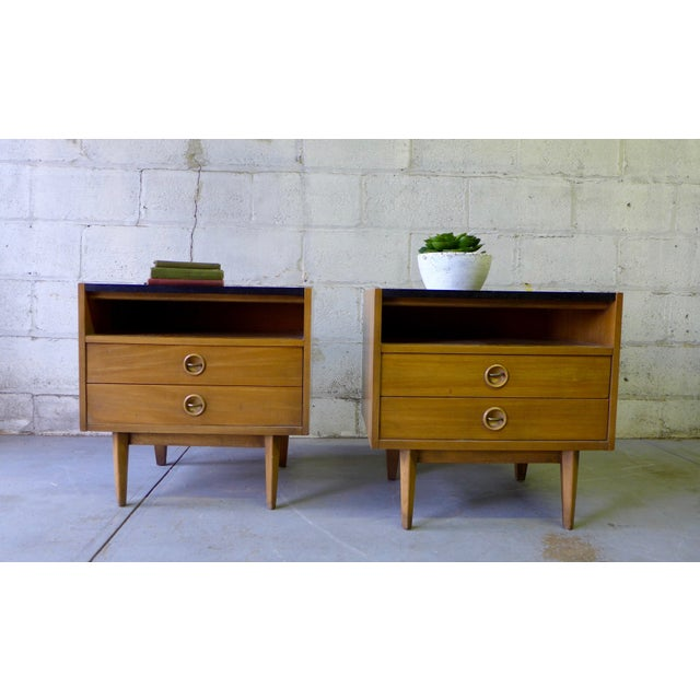 American of Martinsville Mid-Century Walnut Nightstands - A Pair - Image 6 of 7