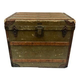 Late 1800s Tall Monogrammed Steamer Trunk For Sale