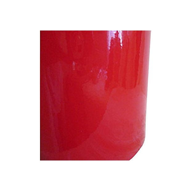 Vintage Red Faux Patent Leather Ice Bucket - Image 4 of 4