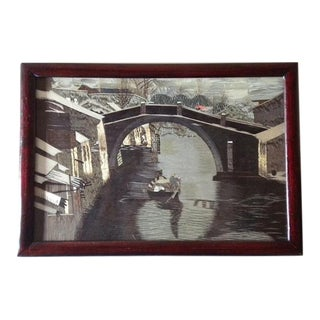 1950s Vintage Two-Sided Framed Chinese Canal Scene Silk Embroidery Art For Sale