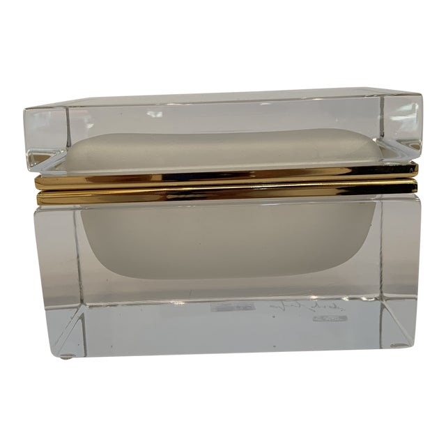 21st Century Murano White Crystal Jewel Box by Mandruzzato For Sale