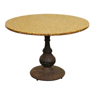 Black Cast Iron With Stone Top Dining Table For Sale