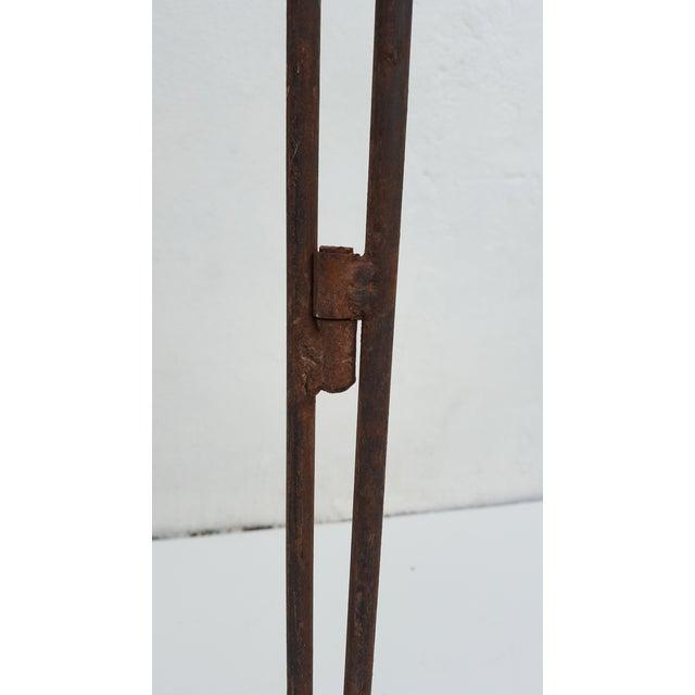 Vintage Metal & Carved Wood Panels Room Divider Screen For Sale - Image 9 of 9