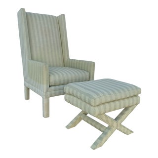 Parson's Chair With X -Base Ottoman For Sale