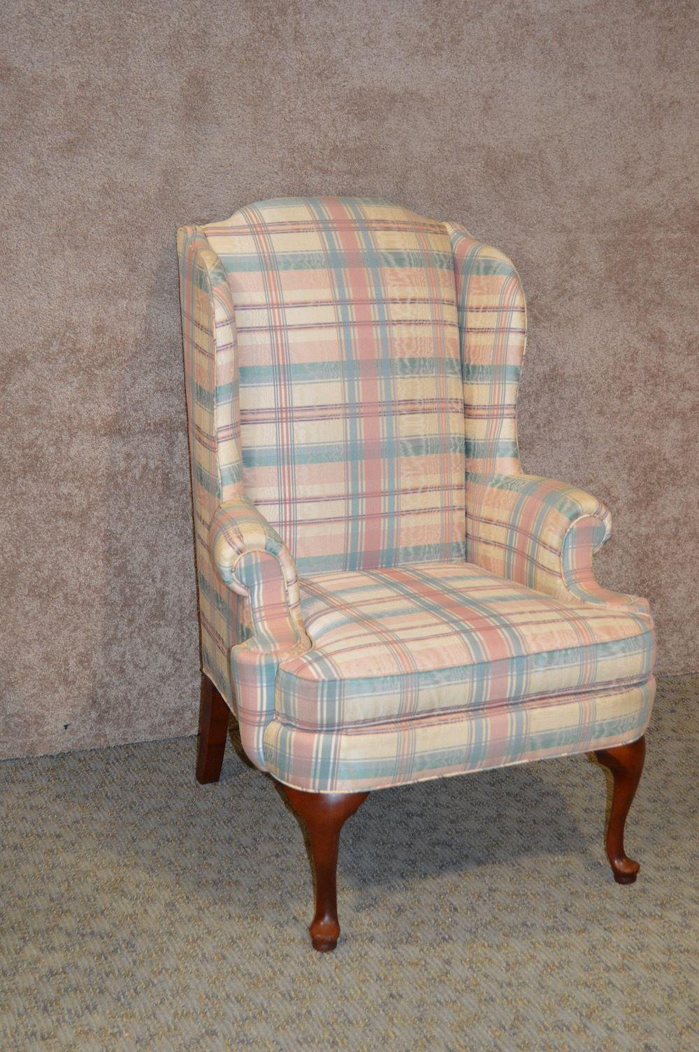 Thomasville Queen Anne Style Wingback Chair   Image 2 Of 10