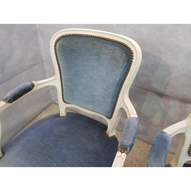 Set of 3 Large French Vintage Whitewashed Velvet Blue Upholstery Louis XV Armchairs For Sale - Image 11 of 13