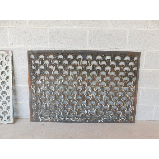 Metal Large Antique Wrought Iron Trefoil Design Wall Heat Grate Decor 46w - a Pair For Sale - Image 7 of 8