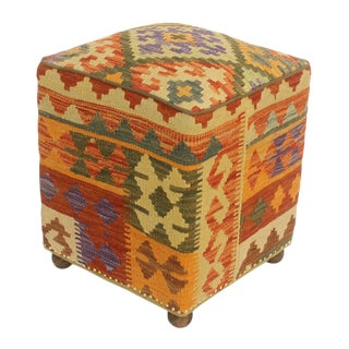 Art Deco Handmade Ethelyn Kilim Upholstered Red and Yellow Wool Ottoman