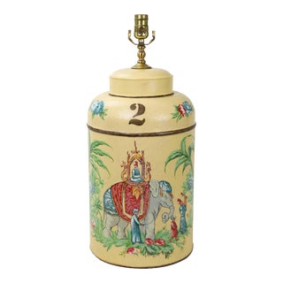 "Vintage Tole Tea Caddy Lamp With Elephant Rider ""No.2"" For Sale"