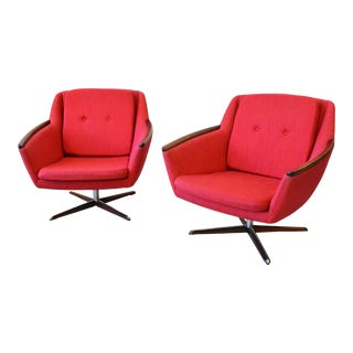 """1950s Rosewood Swivel Lounge Chairs by Gerhard Berg for L.K.Hjelle Mobelfabrikk """"Norse"""" - a Pair For Sale"""