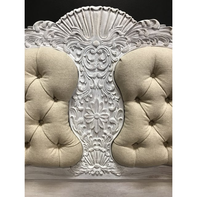 Mid 20th Century Gustiavian White Washed Baroque Style Carved Tufted Linen King Size Bedframe For Sale - Image 5 of 10