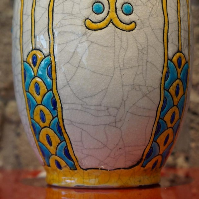 1920s 1920s Charles Catteau Three Color Patterned Vase For Sale - Image 5 of 7