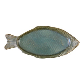 Early 21st Century Vintage Folk Art Decorative Fish Plate For Sale