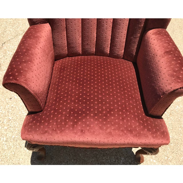 Late 20th Century Vintage Velvet Tufted Wingback Chair For Sale - Image 5 of 8