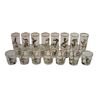 Gold Wild Bird Glasses Barware Attributed to Libbey - Set of 21 For Sale
