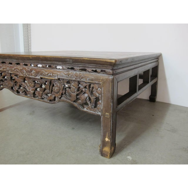 Antique Asian Chinese Solid Wood Coffee Tea Table For Sale - Image 4 of 11