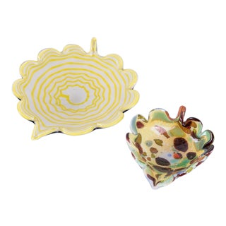 Leaf-Shaped Murano Glass Catchalls - Set of 2 For Sale