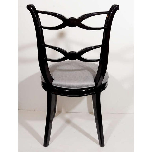 Black Pair of 1940's Hollywood Lyre Back Occasional Chairs For Sale - Image 8 of 9
