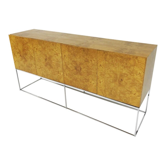 Olive Burl Credenza With Chrome Base Designed by Milo Baughman for Thayer Coggin For Sale