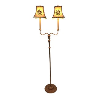 Very Pretty Two-Arm Gilt Metal Floor Lamp With Hand Embroidered Shades For Sale
