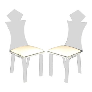 Set of Four Carved Bent Lucite Dining Chairs For Sale