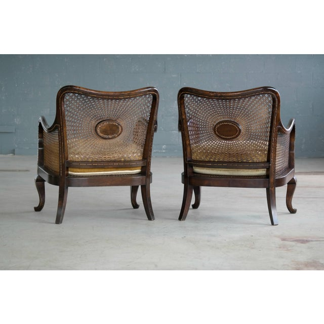 Pair of Danish Early 20th Century Caned Library Bergère Chair in Stained Birch - Image 5 of 10