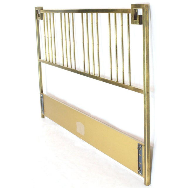 1970s King Size Brass Headboard Bed by Mastercraft Greek Key Faux Bamboo For Sale - Image 5 of 6