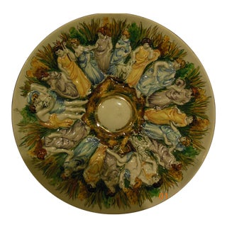 "Antique Capodimonte Pedestal Plate - 11"" For Sale"