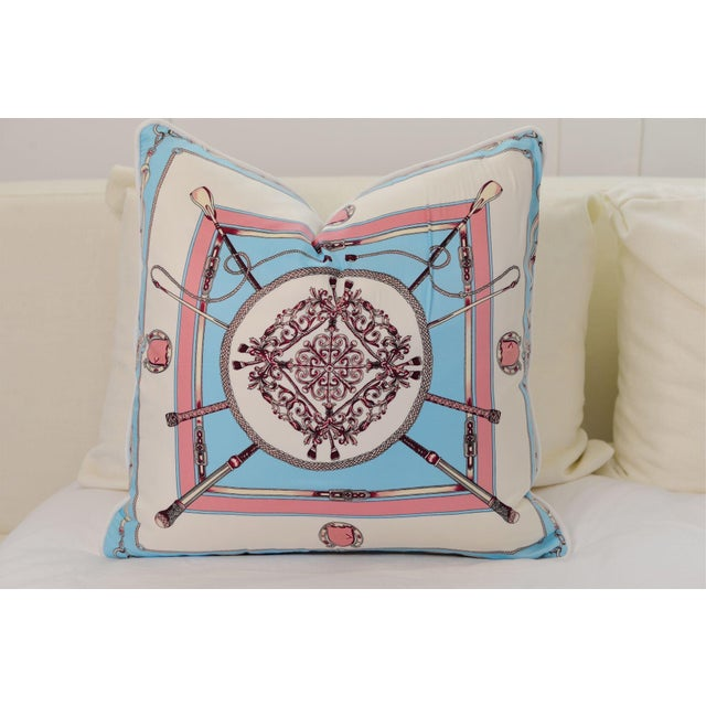 Blue Equestrian Silk Pillow For Sale - Image 4 of 4
