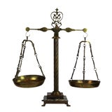Image of Vintage Brass Library Scale With Marble Base For Sale