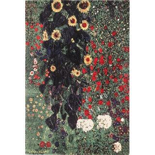 Late 20th Century Scandinavian Gustav Klimt Farm Garden With Sunflowers Rug - 6′ × 9′ For Sale
