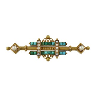 Victorian 14k Gold Persian Turquoise & Seed Pearl Brooch For Sale