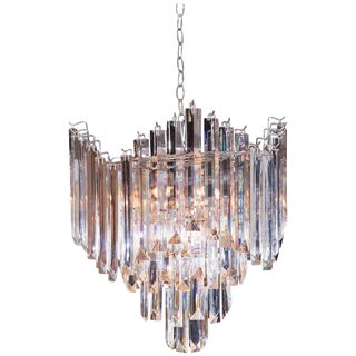 Beautiful Mid-Century Lucite Chandelier with Nickel-Plated Frame For Sale