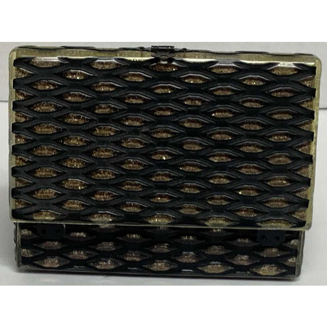 Black French Art Deco Herringbone Celluloid Box For Sale - Image 8 of 13